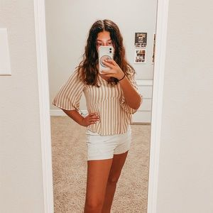 Hollister Flowy Tan and White Striped Top